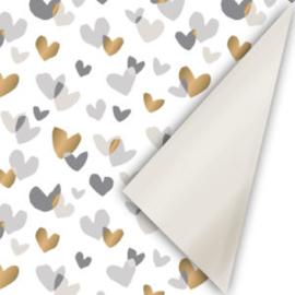 Inpakpapier hartjes goud, champagne en grijs met  een uni metallic champagnekleur als achterkant; dubbelzijdig