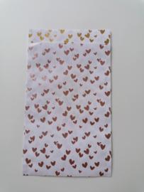 cadeauzakje hartjes roze/goud  12 x 19 cm