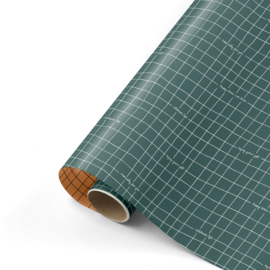 Dubbelzijdig cadeaupapier Whising you the best petrol/roest 50x 300 cm