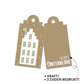 cadeaukaartje kraft/ wit gevelhuisje voor van Sint