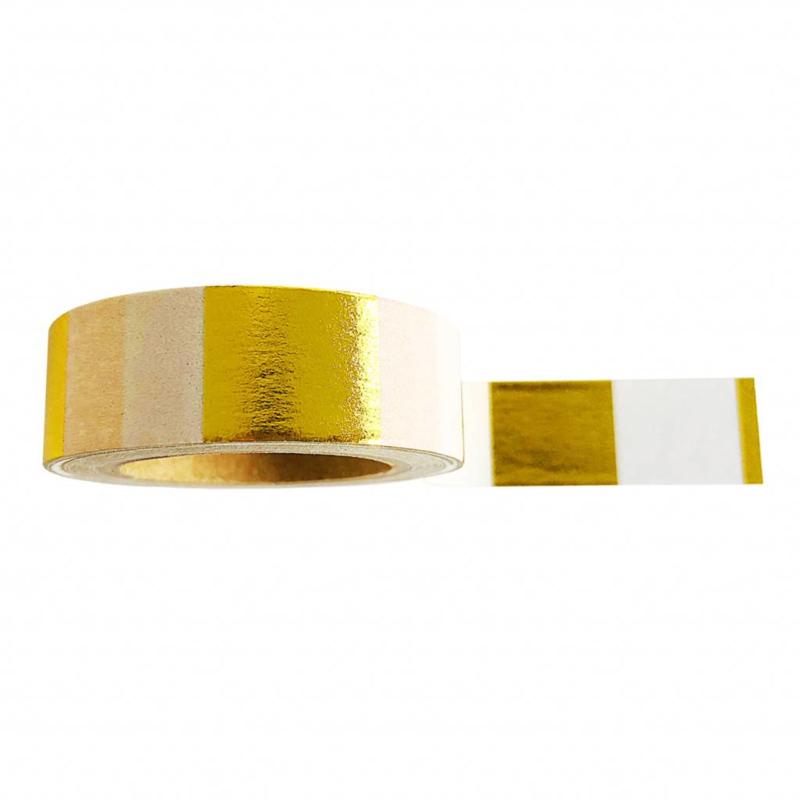 Washi tape goudfolie  &wit  geblokt