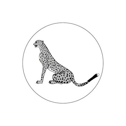Ronde sluitsticker met zittende jaguar, zwart/wit