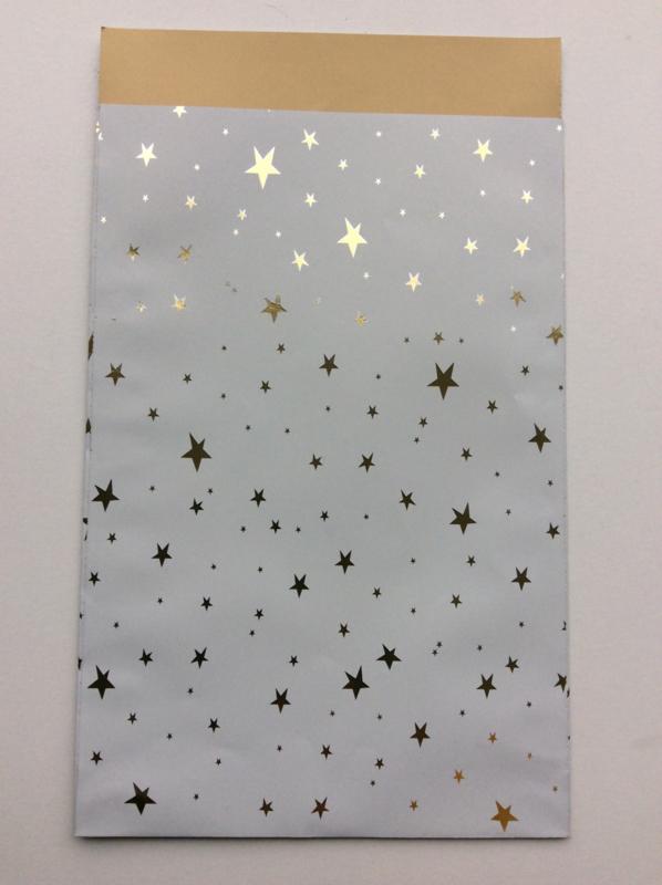 cadeauzakje little stars wit met goud 12 x 19 cm