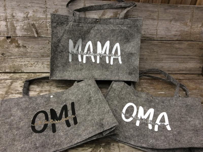 Vilten tas voor Mama (of oma) met namen van de kinderen