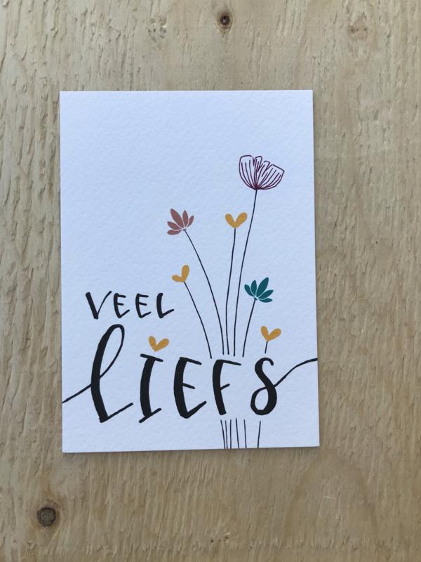 Kaart veel liefs, bloemen