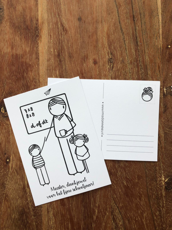 Postkaart meester, dank je wel voor het fijne schooljaar! (DL)