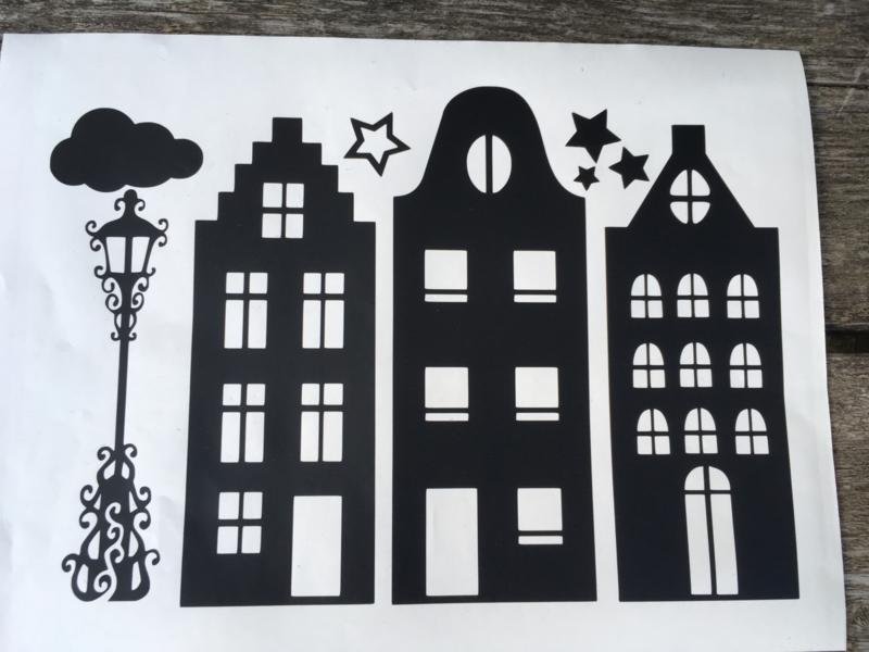 grachtenpanden, straatje voor op het raam