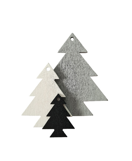 3 houten kerstboompjes labels