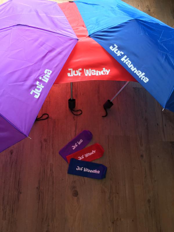 Paraplu voor juf naam of meester naam