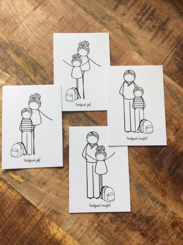 Minikaartje dankjewel juf / dankjewel meester  (DL)