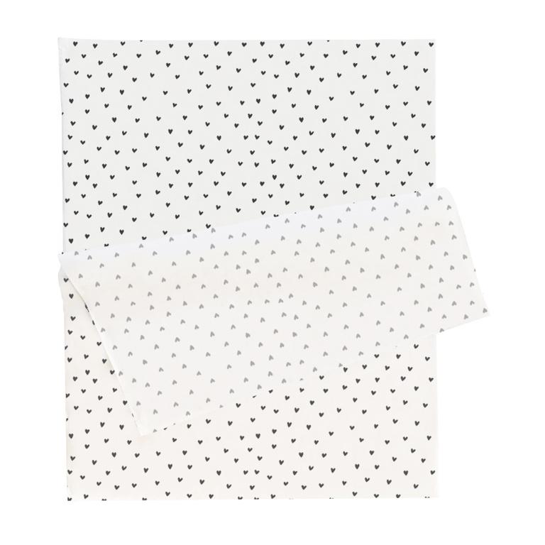 Vloeipapier, wit met zwarte hartjes
