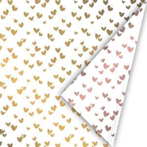 Inpakpapier hartjes goud en rosegoud dubbelzijdig
