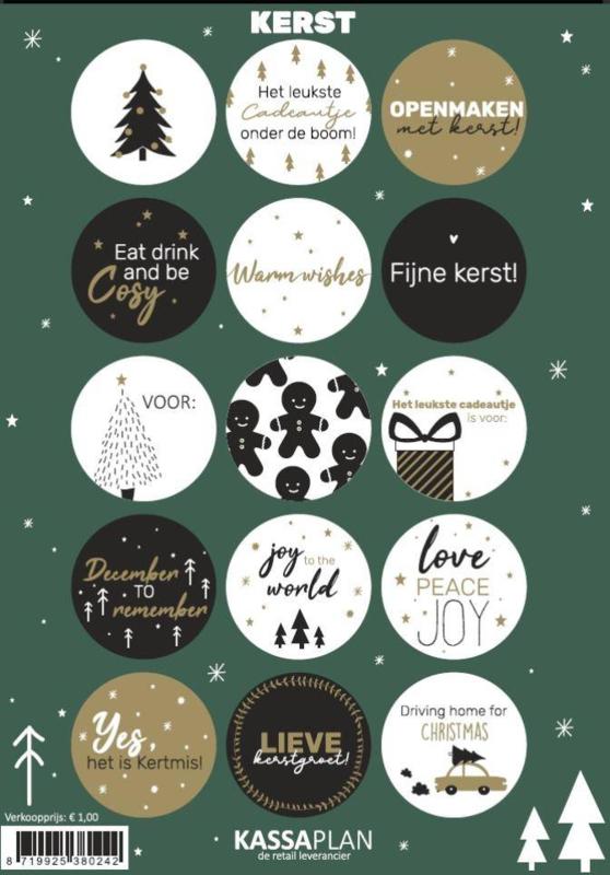 Stickervel Kerst, 15 ronde sluit/cadeaustickers