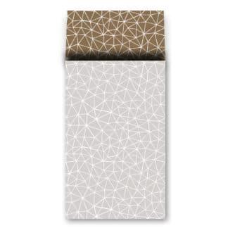 cadeauzakje grijs/goud met grafisch patroon 12 x 19 cm