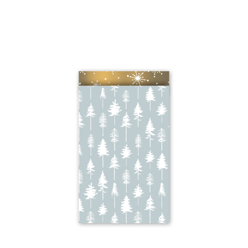 cadeauzakje lovely trees ijsblauw/wit/goud