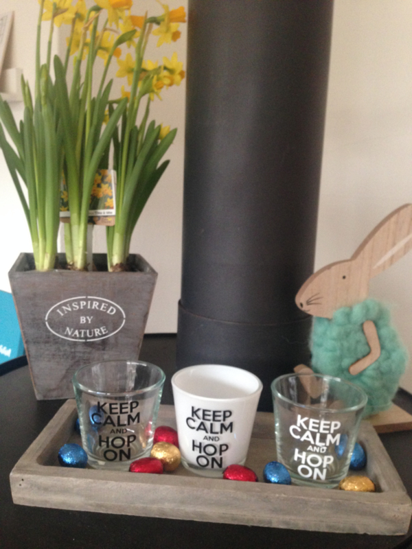 keep calm and hop on, waxinelichtje voor Pasen