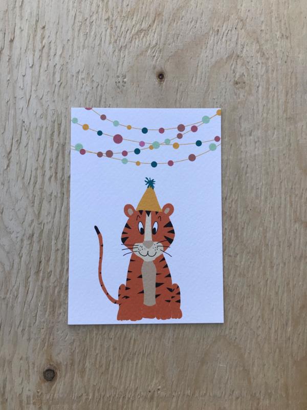 Kaart tijger met slingers, feest