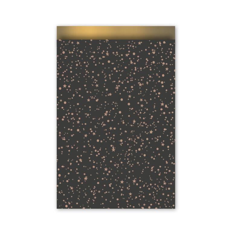 cadeauzakje twinkling stars zwart/roze goud