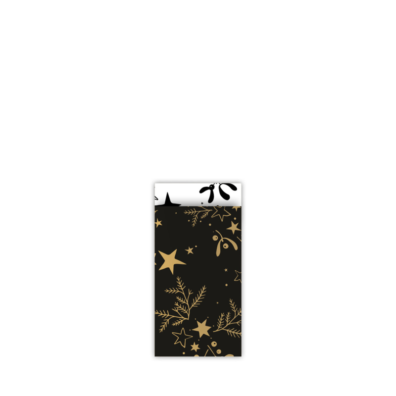cadeauzakje mistletoe kisses  zwart/goud 7x13 cm