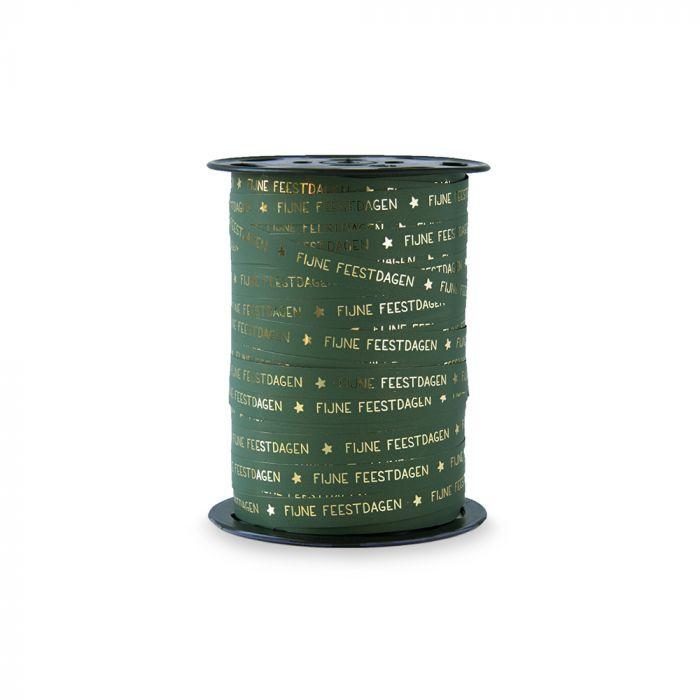 46. Krullint, Paperlook Merry Christmas - groen/goud 10 mm breed