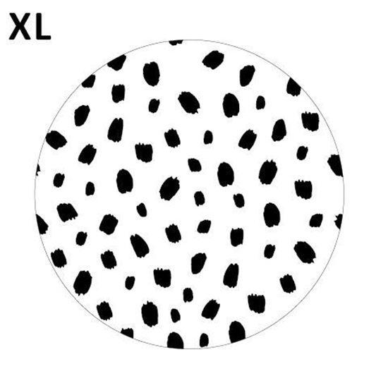 (sluit)sticker  XL wit met zwarte dots