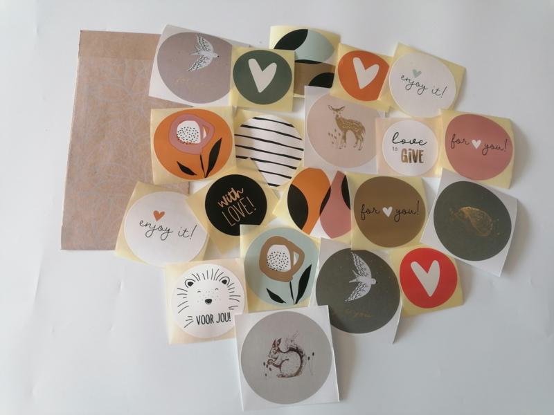 Stickerset  herfst, set van 20 verschillende sluitstickers.