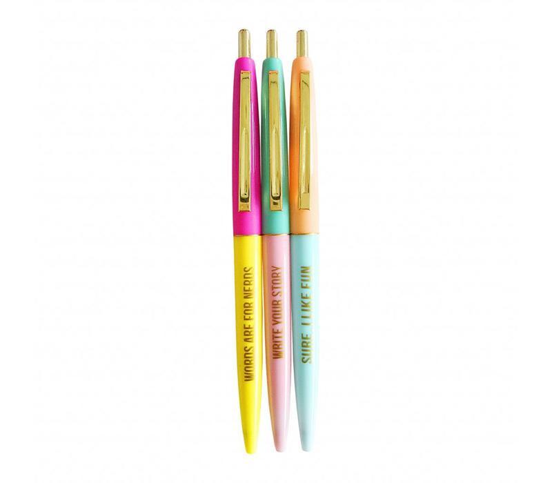 set van 3 vrolijk gekleurde pennen met gouden quotes