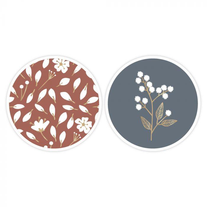 Set van twee (sluit) stickers duo winter flowers
