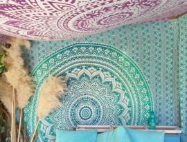 XXL mandala groen blauw roundie strandlaken yoga kleed wand kleed grand foulliard
