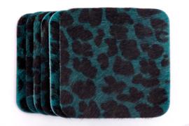 Koeienhuid onderzetters petrol leopard