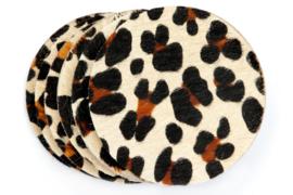 Koeienhuid onderzetters leopard light