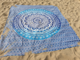 XXL strandlaken Rechthoekige Roundie blauw/turqoise 240x210cm