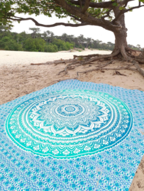 XXL mandala GROEN  roundie strandlaken yoga kleed wandkleed grand foulliard