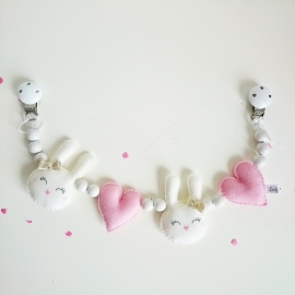 Kinderwagenspanner konijntjes roze goud