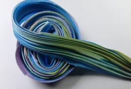 Shibori zijde per 1/4 yard: Blue Borealis