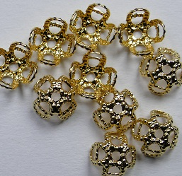 Kralenkapjes, filigraan, 7mm,  Gold Plated