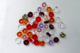 Czech Glass,  Faceted Rondel beads, 3x6 mm, Mix Strawberry Field