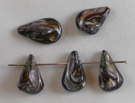 Parelmoer, platte teardrop, ong 11x17 mm, Grijs