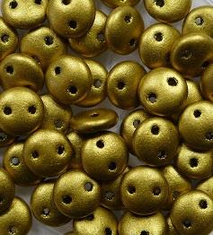 2 hole Lentils, 6 mm, Czech Mates, Matte Metallic Aztec Gold