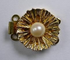 Luxe schuifsluiting met Swarovski parel voor 2 rijen, gold plated