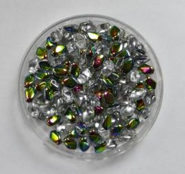 Gekko beads, 3x5 mm, Crystal Vitrail