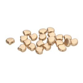 Matubo 2-Hole Ginko Bead Matte Metallic Flax