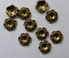 Kralenkapjes, bloem, 7 mm, Antique Gold