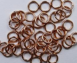 Open ringetjes, koperkleurig, 6 mm