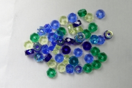 Czech Glass,  Faceted Rondel beads, 3x6 mm, Mix Lagoon