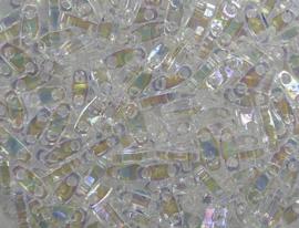 Miyuki Quarter Tila Beads, 5x1,2 mm , Crystal  AB, kleurnummer 250