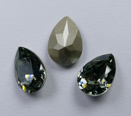 Peervormige Fancy Stone, 14x10 mm, Swarovski, Black Diamond