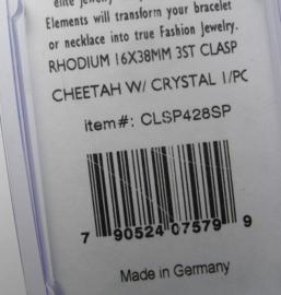 Bijzondere sluiting voor 3 strengen, Cheetah, rhodium plated