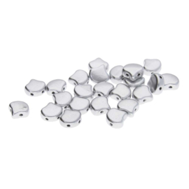 Matubo 2-Hole Ginko Bead Matte Metallic Silver
