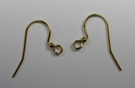 5 paar oorbelhaakjes 25 mm. goudkleur